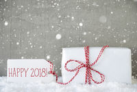 Gift, Cement Background With Snowflakes, Text Happy 2018