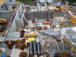 Baustelle in Schenna von oben