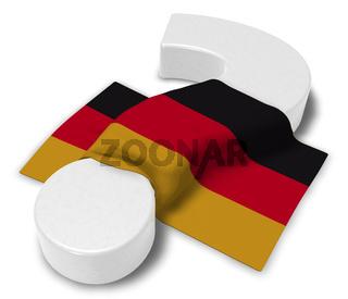 deutsche flagge und fragezeichen - 3d illustration