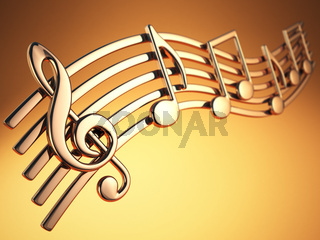 Golden music notes and treble clef on musical strings on yellow background.