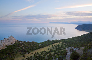 Twillight coastline landscape