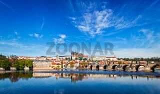 Charles bridge over Vltava river and Gradchany (Prague Castle)