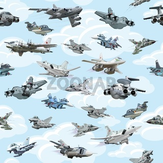 Cartoon warplanes seamless pattern