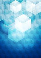 Bright blue tech geometric background with cubes