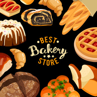 Bakery shop vector frame Baked bread products icons