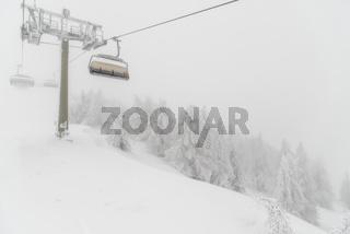 Blizzard on ski resort