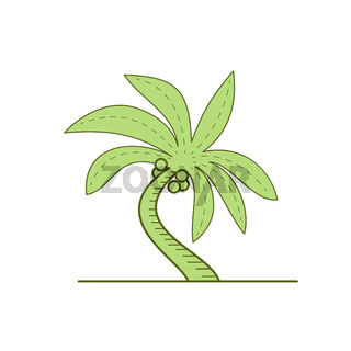 Curved Palm Tree Mono Line
