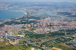The air view of Almada. Portugal