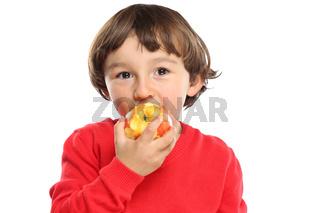 Apfel essen Kind Obst Früchte gesunde Ernährung isoliert Freisteller freigestellt