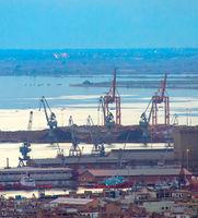 Thessaloniki shipping port. Greece