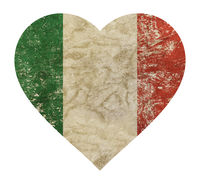 Heart shaped grunge vintage faded flag of Italy