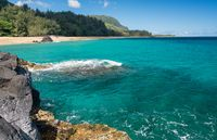 Lumahai Beach Kauai with rocks