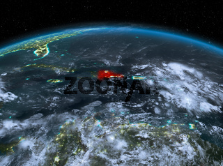 Dominican Republic from space at night