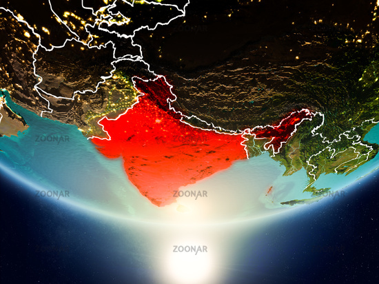 India with sun on planet Earth