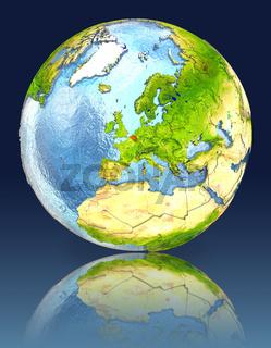 Belgium on globe with reflection