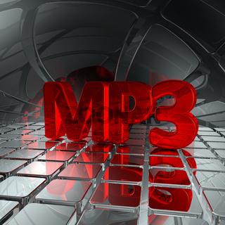 mp3 tag in futuristischer umgebung - 3d rendering