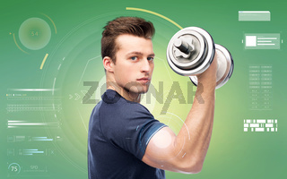 sportive young man with dumbbell