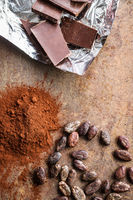 Dark cocoa powder, cocoa beans and chocolate.