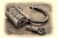 vintage screw type iron padlock
