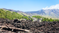 view of hardened lava on slope of Etna volcano