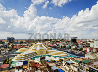 view of central market landmark in phnom penh city cambodia