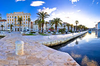 Split waterfront panoramic view from pier