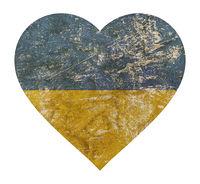 Heart shaped grunge vintage faded flag of Ukraine