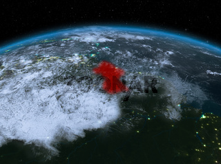 Guyana from space at night