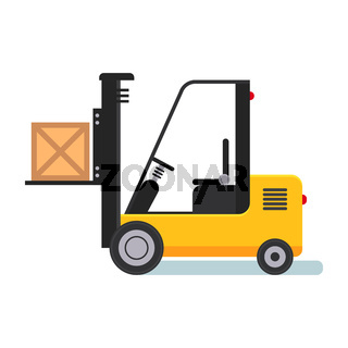 Forklift in Warehouse. Flat styled vector illustration