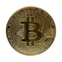 Gold bitcoin isolated on a white background