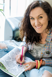 woman concentrate on creative hobby