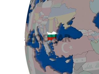 Bulgaria with national flag