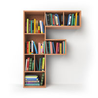 Letter F. Alphabet in the form of shelves with books isolated on white.