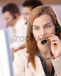 Portrait of attractive female dispatcher smiling
