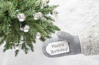 Christmas Tree, Glove, Text Happy Birthday