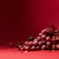 a bunch of ripe grapes on a red background