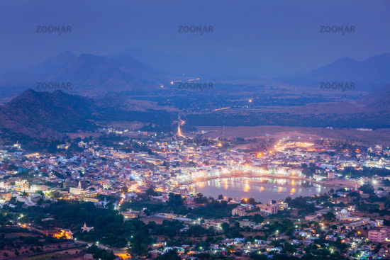 Holy city Pushkar aerial view at dusk from Savitri temple. Pushk