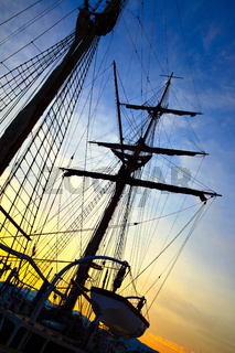 Silhouette of sailing ship