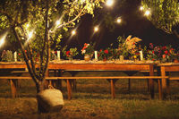 Prepared table for a rustic outdoor dinner at night with wineglasses, flowers and lamps