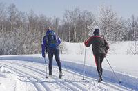 Skilangläufer in der Spur