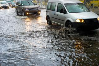 Flood on a urban road