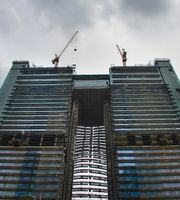 Construction of twin skyscraper, vertical