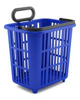 empty blue shopping basket isolated on white background