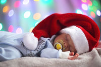 Newborn baby in santa hat
