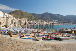 The picturesque port town of Cefalu, on the island of Sicily