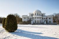 Elagin Palace on the Elagin Island in winter sunny day