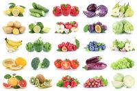 Obst und Gemüse Früchte Apfel Kraut Zitrone Tomaten Farben Collage Freisteller freigestellt isoliert