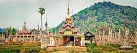 Takhaung Mwetaw Paya in Sankar. Myanmar. Panorama