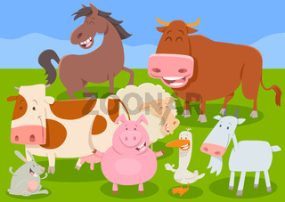 funny farm animal characters group