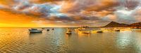Fishing boats at sunset time. Amazing landscape. Panorama